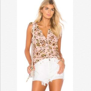 SANCTUARY FLORAL RUFFLE CRAFT SHELL TANK BLOUSE